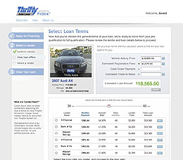 Fidex Loan Terms selector